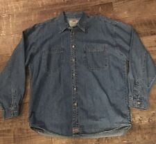 Levis Red Tab Denim Shirt Mens Size L Large Metal Buttons Blue Long Sleeve
