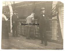Vintage 1910s Inventor Thomas Edison Aboard Ship Candid Photo - Brown Bros
