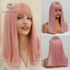 Cute Pink Bob Blunt Cut Hair Wigs With Bangs for Women Daily Party Cosplay Wig