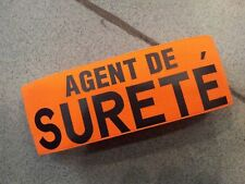 BRASSARD TISSU ORANGE AGENT DE SURETE ARMBAND SECURITE FERMETURE SCRATCH