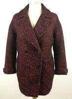 Jaeger Womens Coat Wool Blend Red Black Button Up Double Breasted Jacket Size L
