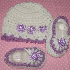 SALE---Handmade Crochet Baby Girl Booties,Hat Lilac Newborn 3 Months