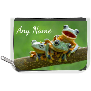 Personalised Denim Purse - 3 Tree Frogs/Frog Design *Choice of text colour*