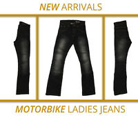 Women's black motorbike jeans ladies motorcycle protective slim stretch denim
