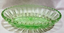 VINTAGE OVAL GREEN GLASS URANIUM? BOWL/DISH WITH STAR CUT BASE AND FLUTED RIM