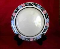 "Madrid by Tienshan 7 3/4"" Salad Plate Retired Black Band W/ Pink Tulip & Purple"