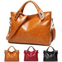 Women's Oil Wax Leather Shoulder Messenger Bag Tote Handbag Satchel Crossbody