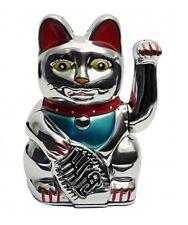 Silberne Winke-Katze Winkekatze Glücksbringer Glückssymbol 16cm hoch Glückskatze