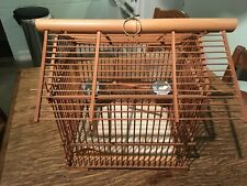 Vintage Bamboo Bird Cage with 2 Vintage Porcelain Cup Feeders