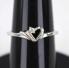 Ladies 14k White Gold .02ct Diamond Heart Promise Engagement Ring Size 5.5