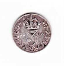 More details for king george v maundy money coin silver penny 3 pence 1913