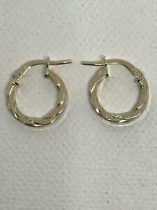 9ct 375 Hallmarked Twisted Yellow Gold Hoop Earring 10-15mm Brand NEW