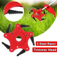 Outdoor Trimmer Head 5 Steel Blades Razors 65Mn Lawn Mower Grass Weed Cutter