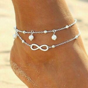 Women's Stainless Steel Double Layer Charm Love Ring Bracelet Chain Anklet Gift