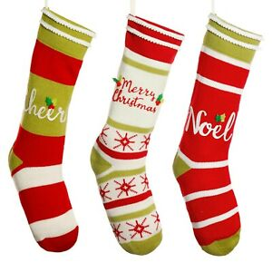 Set of 3 Traditional Knitted Cotton Fairisle Knit Patterned Christmas Stockings