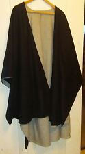 Women's Vintage Cape Cloak Open Front Poncho One Size Black Wool With Lining
