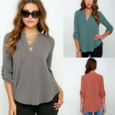 Women Long Sleeve Chiffon Shirt V Neck Solid Loose T Shirt Tops Blouse Plus Size
