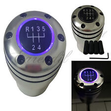 Manual Stick JDM Shift Knob Purple LED Light M/T Gear Sport Silver #h24 For Car