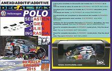 ANEXO DECAL 1/43 VOLKSWAGEN POLO R WRC S.OGIER SWEDEN 2015 WINNER (01)