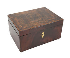 English Handmade Footed Wood Inlay Marquetry Box, geometric designs 19th century
