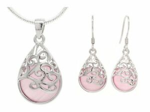 Pink decorated moonstone necklace and earrings 925 sterling silver jewelry box