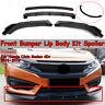 Matte Black Front Bumper Lip Spoiler Splitter For Honda Civic SI Sedan 2016-2018