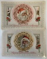 Lot of 2 SANTA CLAUS~ in Wreaths with Scenes~Antique Christmas Postcards~a528