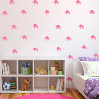 Pink Elephants Children's Wall Art Stickers Decals 6 Sheets 36 Stickers