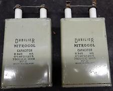 PAIR VINTAGE PAPER OIL CAPACITORS. 0.1MFD 0.1UF 7500V DUBILIER NITROGOL. TESTED
