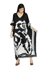 Women Party Wear Summer Kaftan Dress Black Polyester Plus Size Long Maxi Caftan