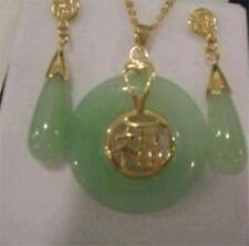 pair of Earrings Set Natural Beautiful Jade Pendant and