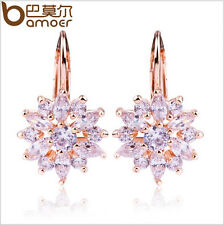 Bamoer Luxury 18K Plated Gold Flower Stud Earrings with Zircon Stone For Ladies