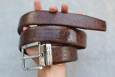 Dark Brown Genuine Ostrich Leg Leather Skin Men's Belt - W 4cm