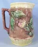 Majolica Wild Rose Pitcher Butterfly Spout Basketweave Yellow Bands Antique #2