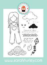 Sarah Hurley Doodle Muñeca Chica al aire libre Conjunto de sello