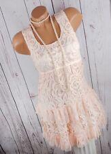 DRESSARA ITALY Damen Kleid Strandkleid Long-Tunika Spitze Boheme rosa XS-M34-38