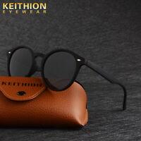 KEITHION Unisex Round Polarized Sunglasses Vintage Retro Mirrored Eyewear Black