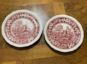 """Set Of ( 2 ) Matching Spode Pink Tower Bread Plate 6 1/2"""" Made in England"""