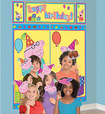 PEPPA PIG Scene Setter Happy Birthday Party wall decoration kit w/12 photo props