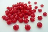 70 pce Red Opaque Faceted Abacus Glass Beads 8mm x 6mm