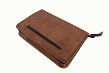 Zippered Leather Portfolio Padfolio Organizer Folder A4 Notepad Business Bag