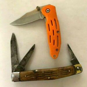 Lot of 2 Pocket Knives Wood Fabre + Orange Kabar Int'l International 03-110