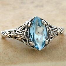 Genuine Blue Topaz .925 Sterling Vintage Art Deco Style Silver Ring Sz 5 ,#778