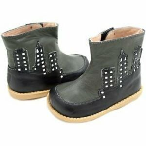 New LIVIE & LUCA Shoes Booties Boots City Fog Black Gray 4 toddler HTF