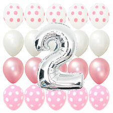 Second Birthday Pink Polka dot Baby 2nd b-day Party Balloons Bouquet Decorations