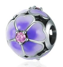 DIY Flower European CZ Crystal Charm Silver Spacer Beads Fit Necklace Bracelet !