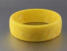 Vintage 60's Yellow Plastic Lucite Marble Swirl Bangle Bracelet