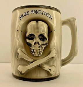 Vintage Nodder Skull Mug The Old Man's Poison Moving Head Japan