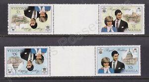 1981 Royal Wedding Charles & Diana MNH Stamps Stamp Set Anguilla TETE-BECHE PAIR