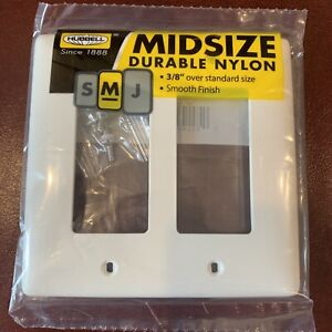 10 Pack Hubbell 2-Gang White Double Midsize Nylon Wall Plate NPJ262WZ New Lot 2